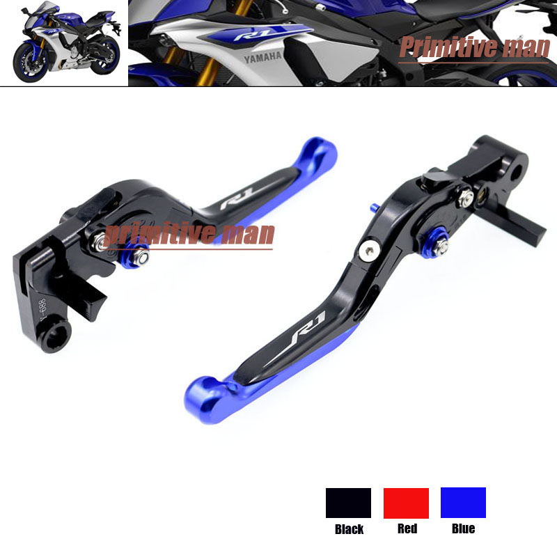 ФОТО For YAMAHA YZF R1 YZFR1 YZF-R1 YZF R1M YZF R1S 2015-2016 Motorcycle  Folding Extendable Brake Clutch Levers LOGO R1 Blue