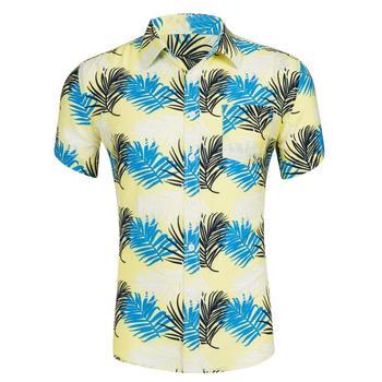 2019 New Fashion Hawaiian Pineapple Leaves Print Casual Shirts Clothing Men Turn Down Collar Short Sleeve Beach Party Shirt Tops