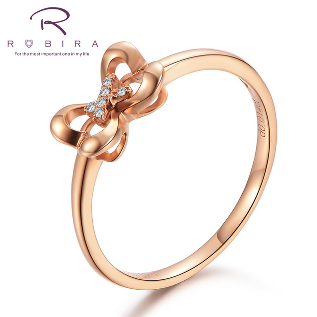 Robira Female Heart To Diamond Ring Fashion 18k Rose Gold Jewelry Vintage Wedding Rings For