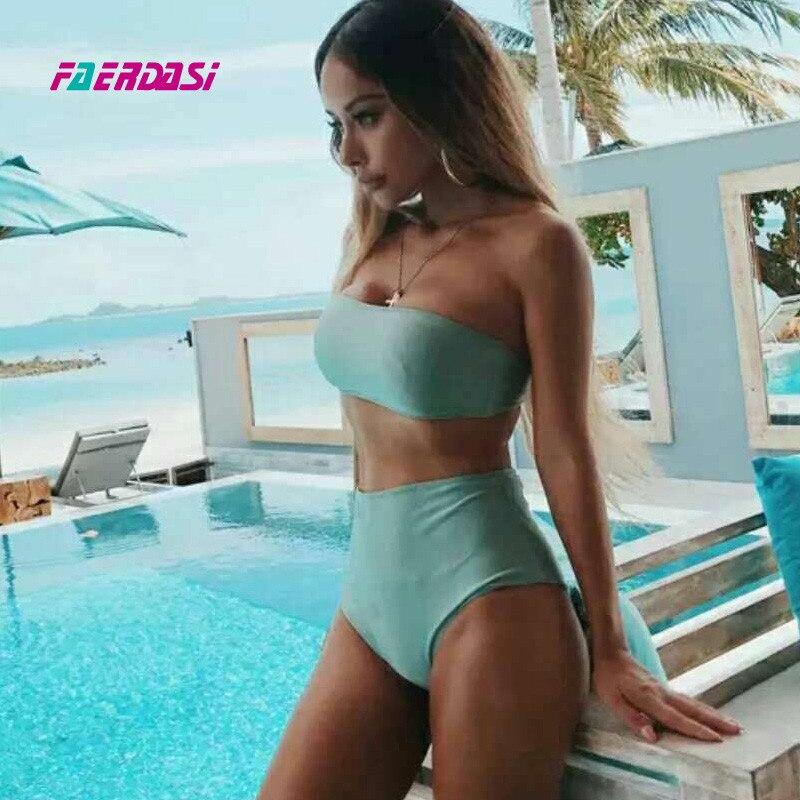 Faerdasi Shiny Bikini Set Women High Waist Biquini Pink Push Up Bathing Suit Sexy Swimwear Plus Size Swimsuit Cut Swim Wear