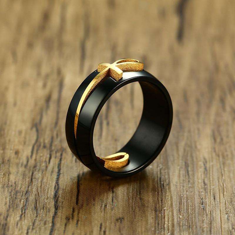 Stylish Black Egyptian Cross Ring