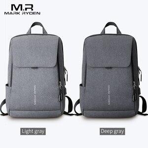 Image 5 - Mark Ryden adam sırt çantası USB şarj 15.6 inç dizüstü okul çantası erkek için erkek seyahat Mochila su geçirmez