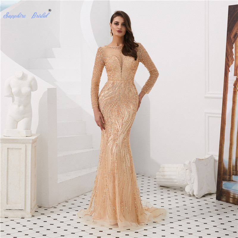 Sapphire Bridal Sparkly Beading Mermaid   Evening     Dress   2019 Vestido De Fiesta Elegant Long Sleeve Sexy Illusion Formal   Dress