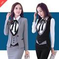 Professional women Plus Size Formal   Business Suits 3 pieces Jackets + Skirt + Vest Ladies Blazers Outfits Set OL Styles
