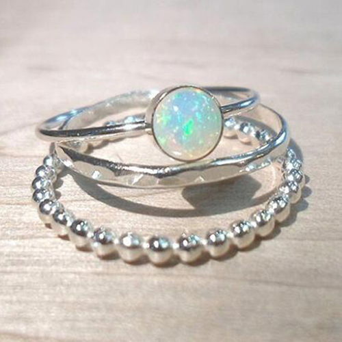 2018 Romantic Women Ring Simple Three Pieces Blue Opal Ring Engagement Rings For
