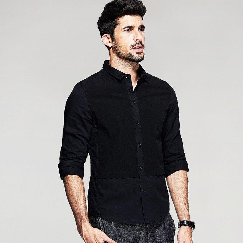 KUEGOU Jesenske moške priložnostne majice Patchwork črna barva - Moška oblačila - Fotografija 3