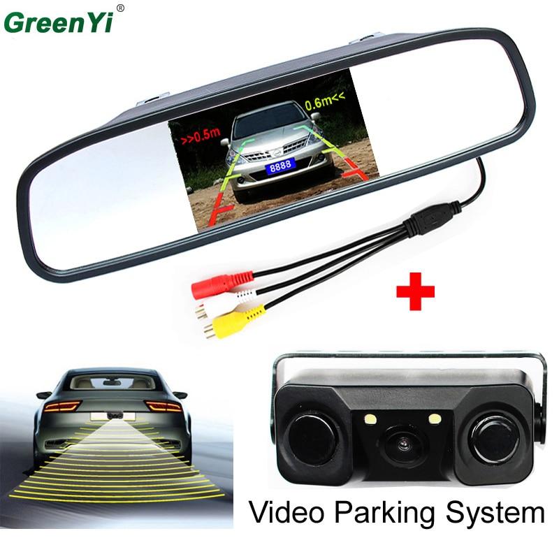 Автомобиль видео парковка Сенсор сзади Камера с индикатором Би звуковой сигнал обратного автомобиля Сенсор + монитор зеркала автомобиля видео дисплей