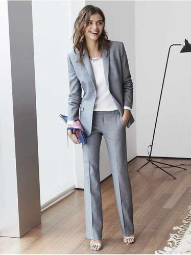 Light Grey Women suit Custom Made Business Office Tuxedos Work Wear One Buttons (jacket+pants)