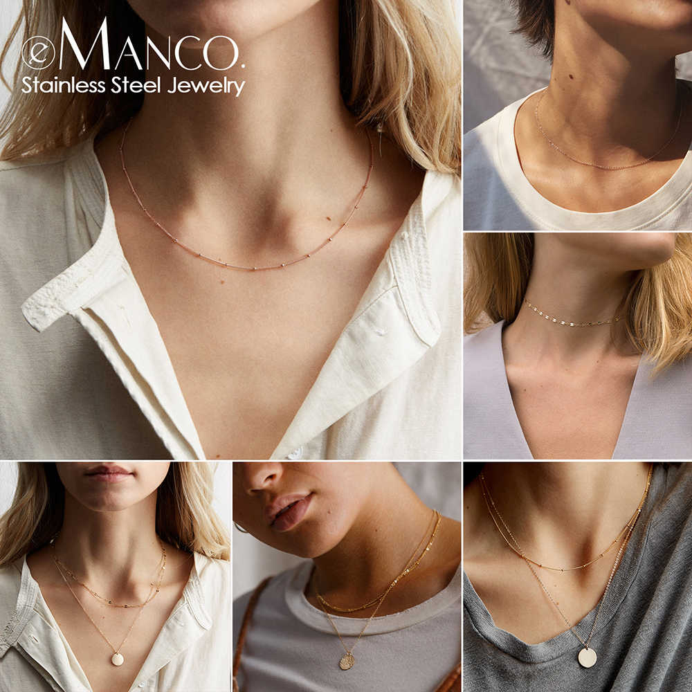 eManco layered chains long necklace women gold color link chain necklace pendant choker necklace for women fashion jewlery