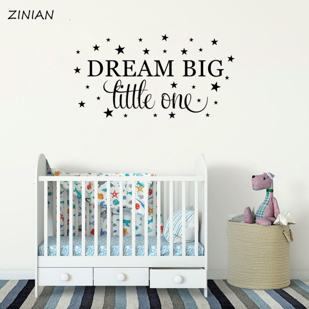 US $5.98 25% OFF|Dream Big Wall Decal Quote Bedroom Vinyl Wall Saying  Sticker Baby Girls Boys Nursery Room Decoration Removable Words Mural  Z134-in ...