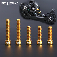 RISK Brand 5 Pcs Set Bike Front Rear Derailleur Bolts M4 13 5 20 Mm For