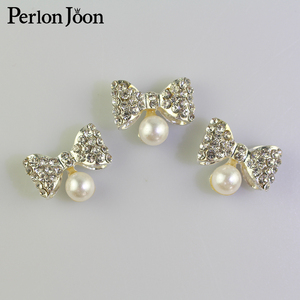10pcs 18*15mm Lovely Bow-knot Crystal Pearl Rhinestone metal Button For Clothing to Wedding Dress Accessories For Sewing Nk012