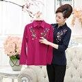 Plus size 4xl Apliques mulheres primavera bordado blusa 2017 primavera sólida vermelho longo das senhoras da luva camisa solta top feminino