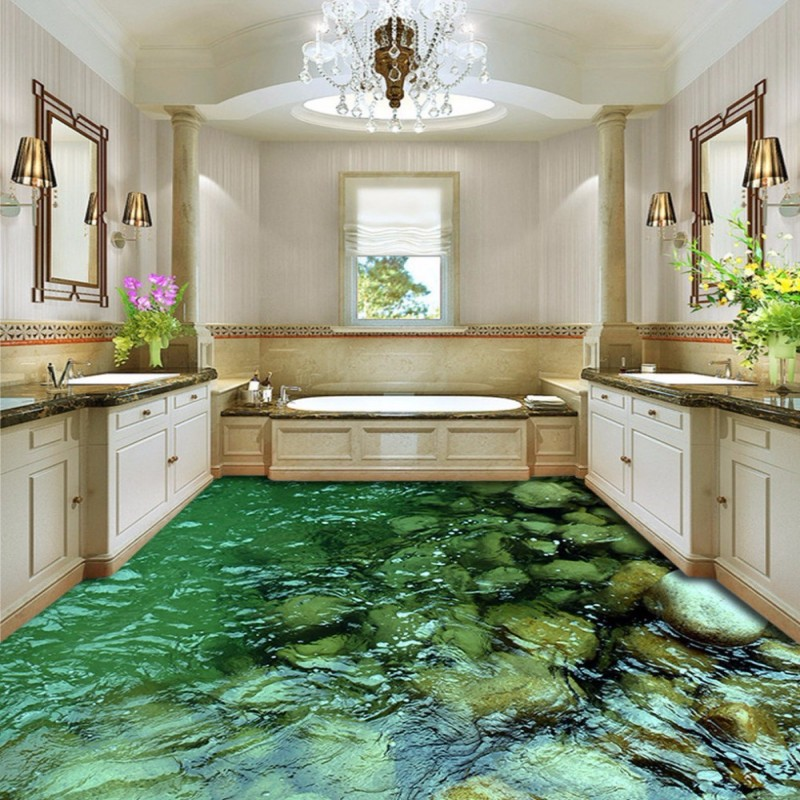 цены Free Shipping high quality 3D Calm Creek Water Floor Background painting bedroom shower house restaurant floor wallpaper mural
