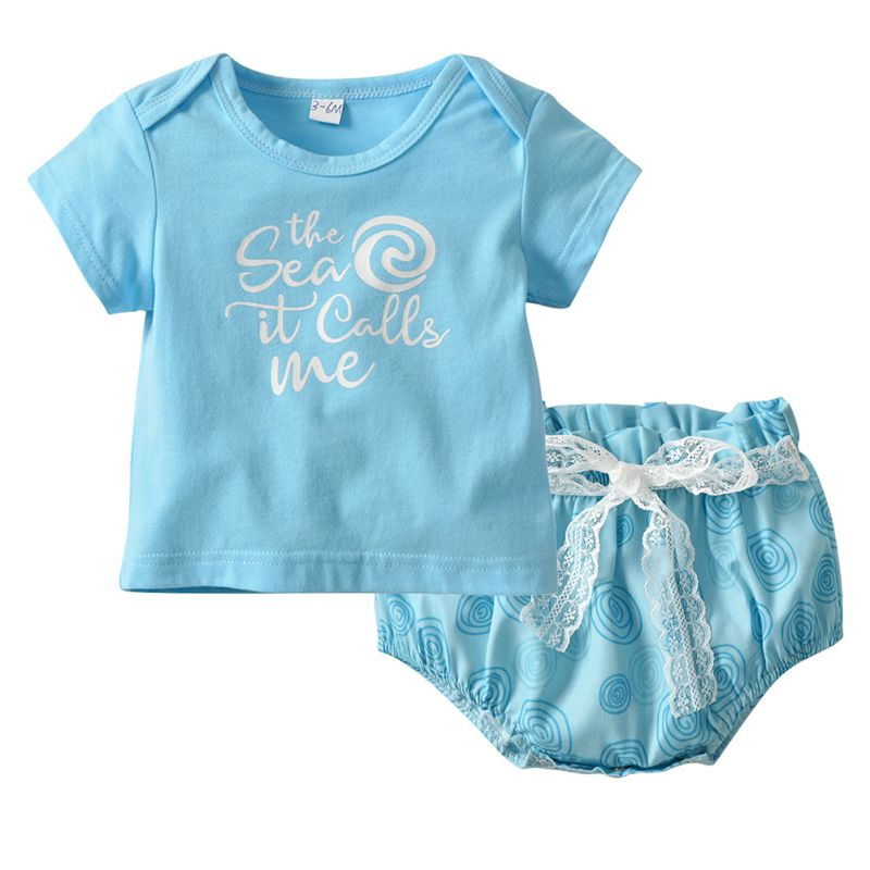 Summer Baby Girl Clothes 2pcs Letter Print Suit Set Short Sleeve T-Shirt Top +PP Pants Outfits Set round neck short sleeve letter print t shirt