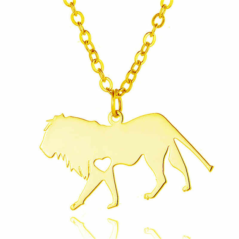 Wholesale Trendy Lion Necklace Stainless Steel Lion Heart Pendant Necklace Fashion Animal Jewellery Gift