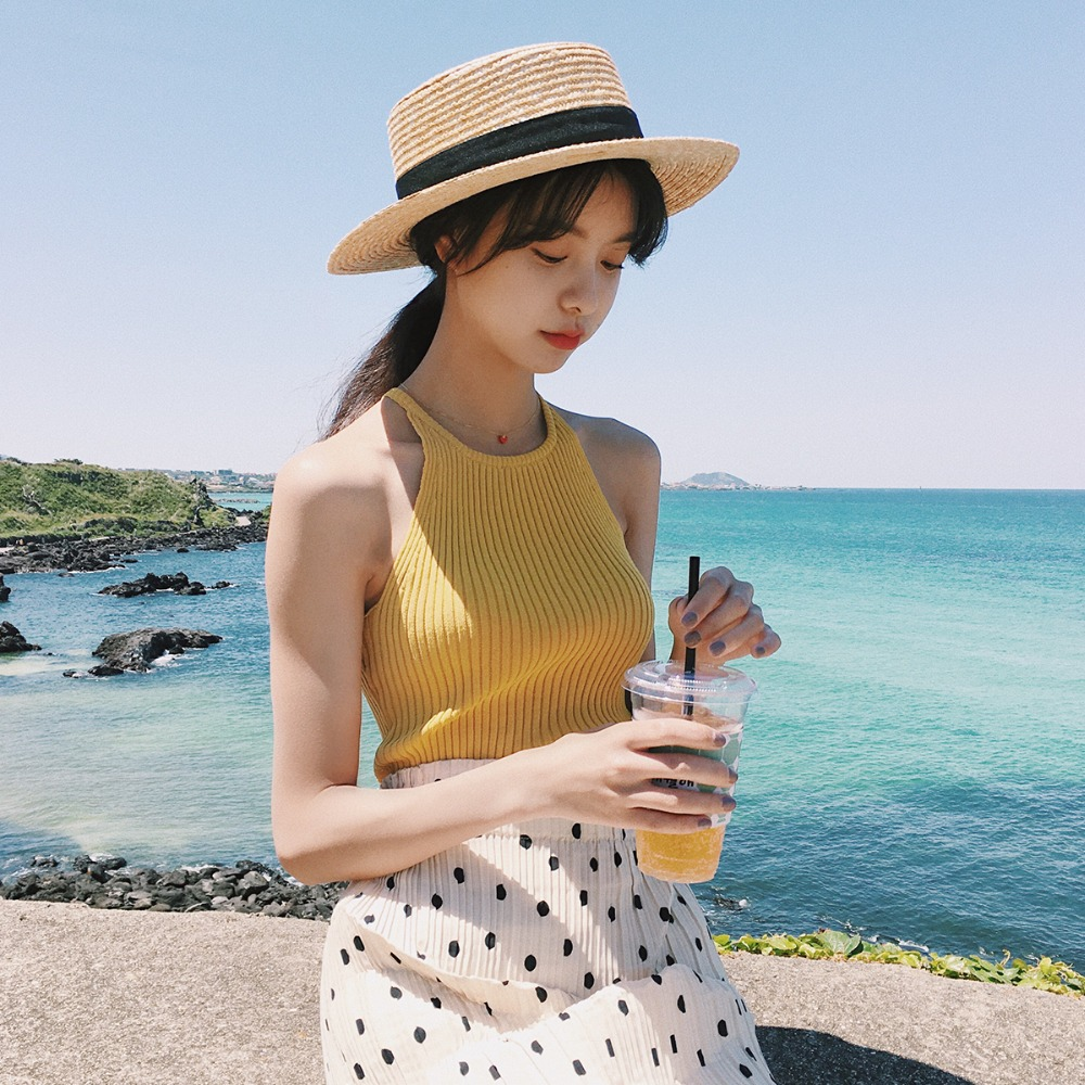 Summer Women Fashion Knitting Halter Neck Stretchy Camis   Tank     Tops   Girls Knitted Camisole Sleeveless Tee shirts   Top   Female