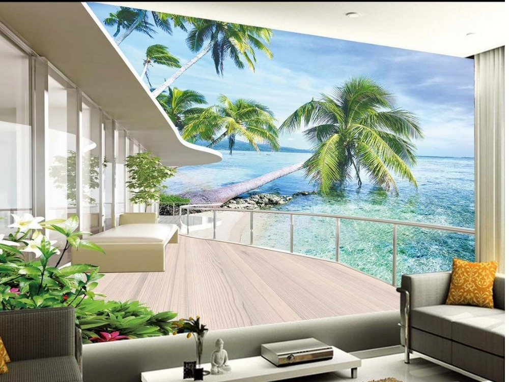 buy europe style beach balcony 3d room wallpaper landscape stereoscopic 3d. Black Bedroom Furniture Sets. Home Design Ideas