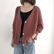 цена на Knit Cardigan Sweater Jacket Female Korean Edition Loose Autumn New Outer Small Cardigan Sweater 2019