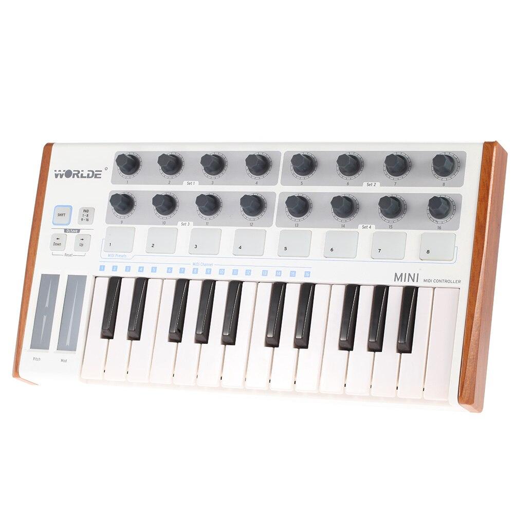 Worlde MIDI Keyboard 25 Key Mini USB Ultra Portable MIDI Controller Drum Pad and Keyboard Controller