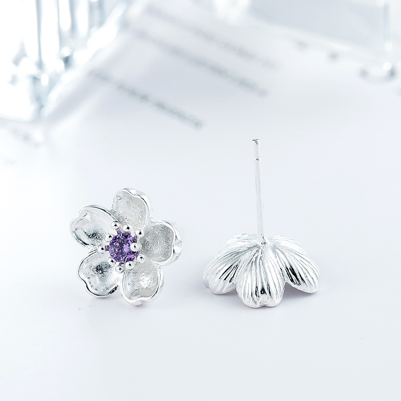 DreamySky Pure 925 Sterling Silver Flower Earrings For Women Girls Christmas Gift Brincos Pendientes Drop Shipping