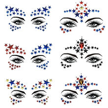 Acrylic Resin Drill Stick Bindi Sticker Handpicked Bohemia Tribal Style Face Eye Jewels Forehead Stage Decor Sticker Makeup Set(China)