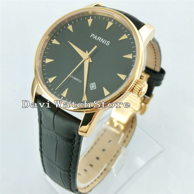38mm Parnis Black Dial Casual 21 Jewels Miyota Automatic Movement Casual Watch Sapphire Glass 2547 image