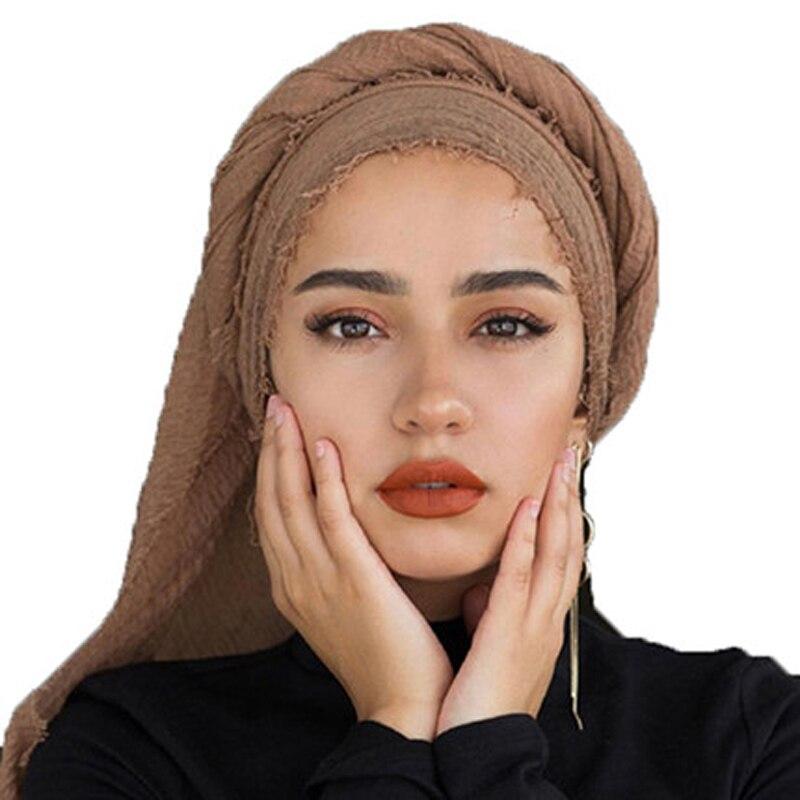 90*180cm Women Muslim Crinkle Hijab Scarf Femme Musulman Soft Cotton Headscarf Islamic Hijabs Foulard Shawls And Wraps Hoofddoek