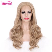 hot deal buy imstyle synthetic lace front wig long wavy blonde wigs for women heat resistant fiber lace front wigs glueless natural hair lady