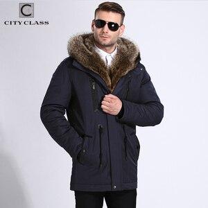 Image 4 - 市クラス毛皮の冬のジャケットメンズスーパー暖かいパーカーラクダ毛充填アライグマフードビッグ毛皮の冬のコート厚みパーカー 839