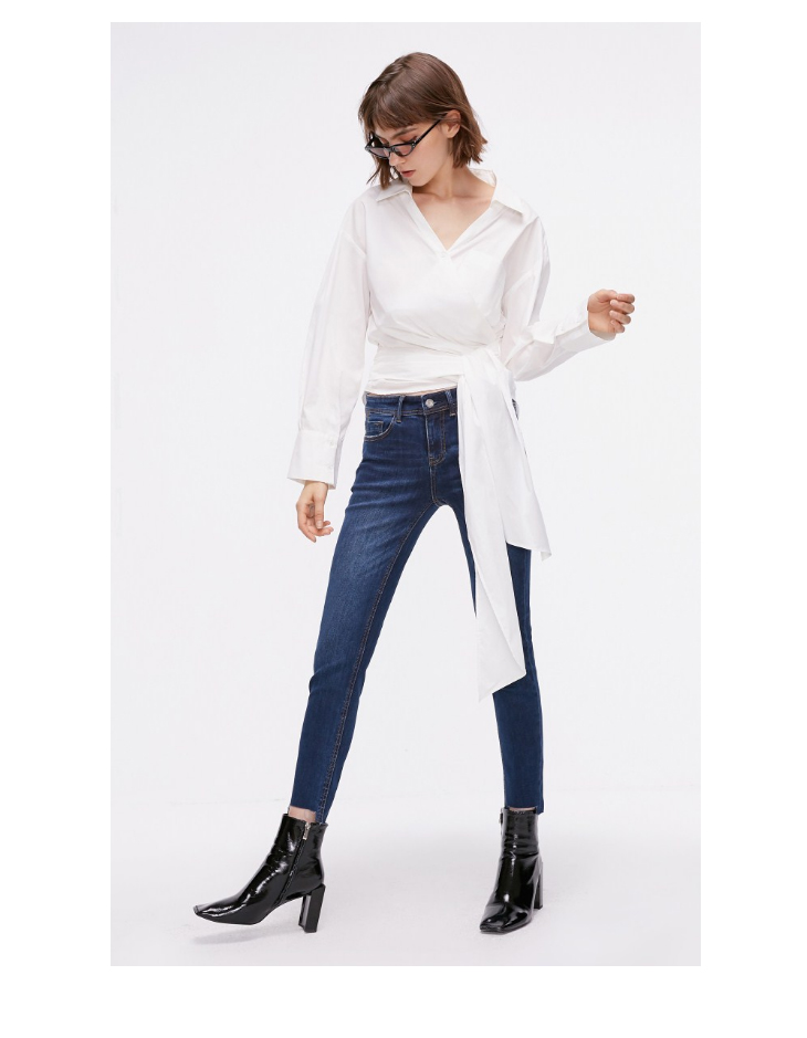 ONLY Women's autumn new low waist slim cropped jeans| 118349591 18