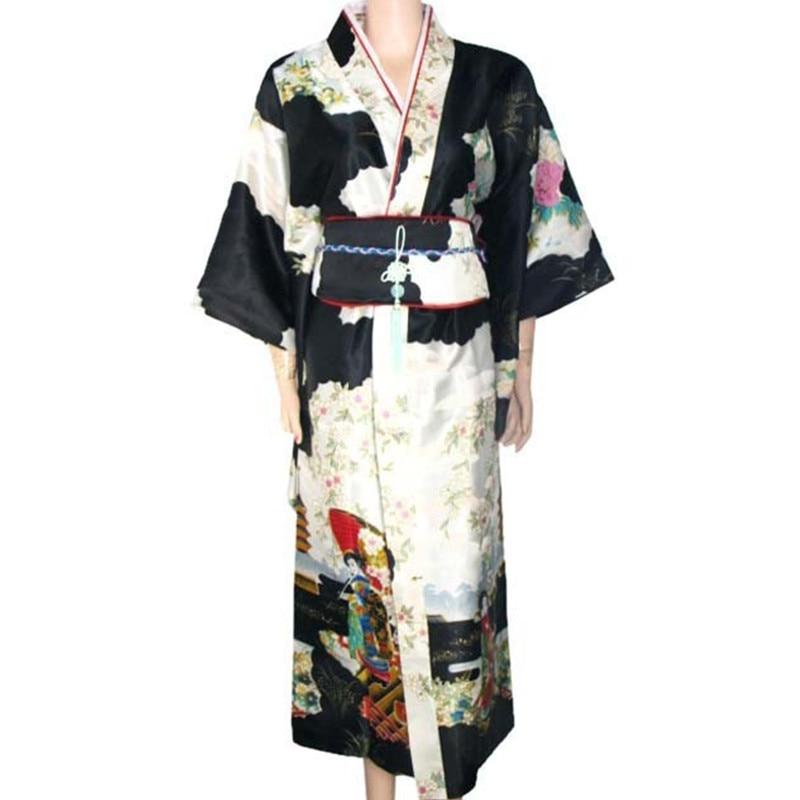 ⑧Envío Gratis negro seda japonesa del Vintage de satén kimono ...