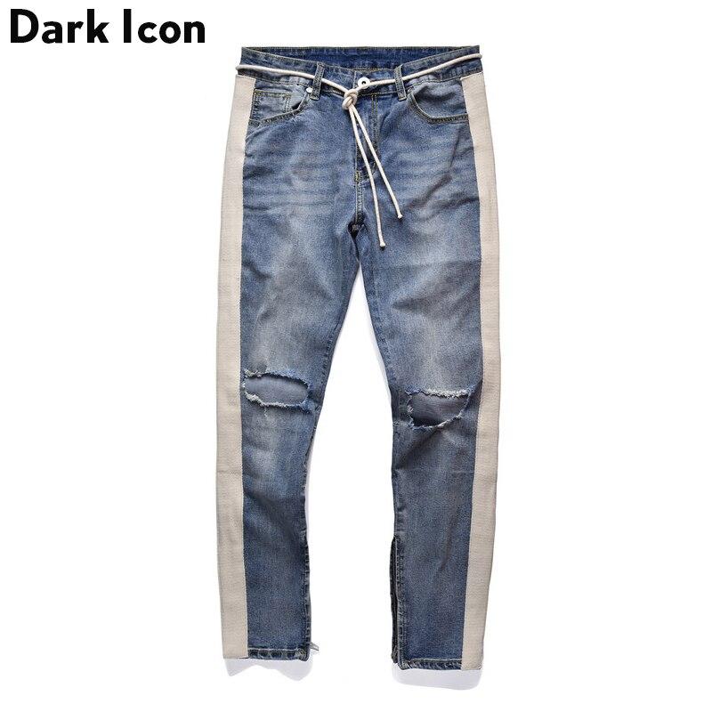 Темно значок боковой полосой лоскутное рваные джинсы для мужчин плюс строка 2018 Новая мода рваные джинсы 2 цвета
