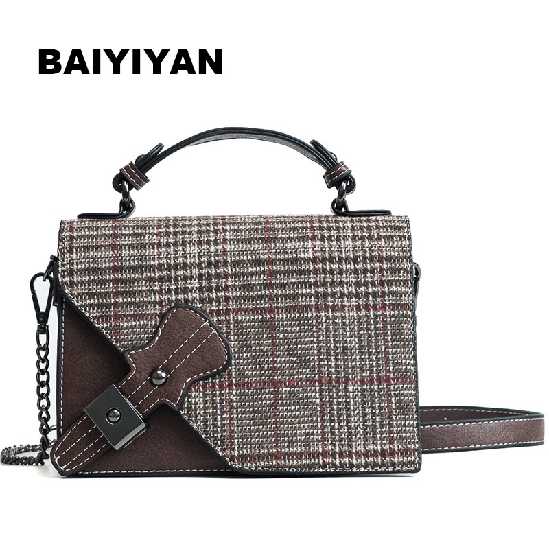 2018 New Retro Ladies handbag Women Plaid Chain Shoulder Bags Famous Brand Designer Woolen Cross-body Bags Women Tote
