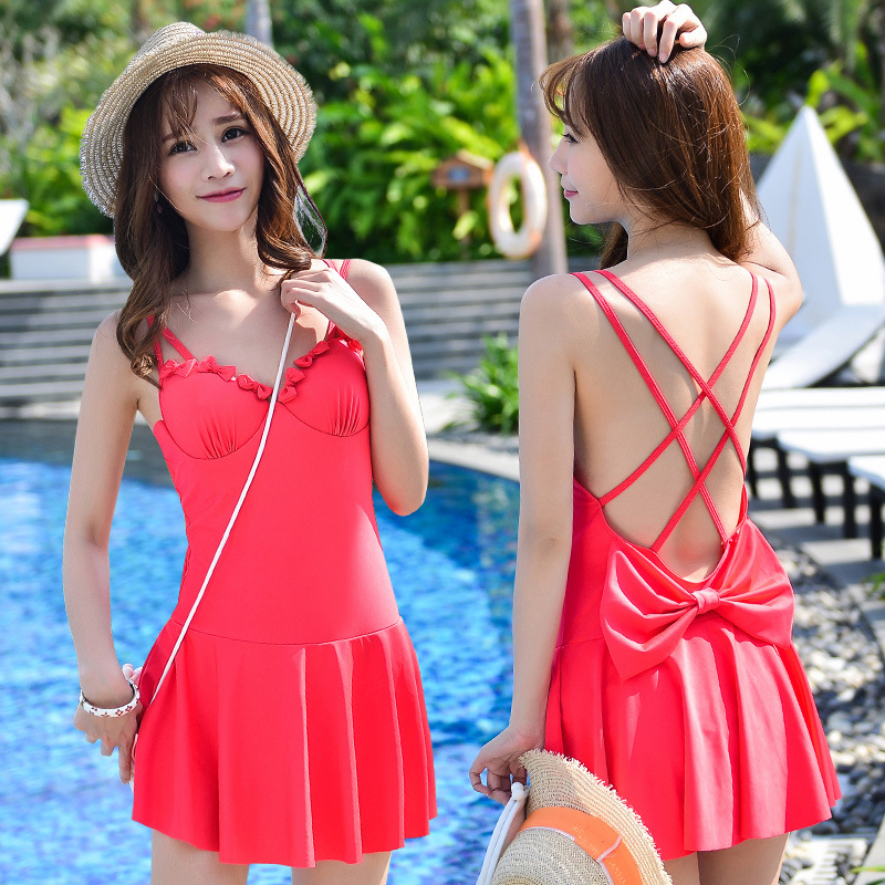 One Piece Swimsuit Swimwear Women Cheap Sexy Bathing Suits Lady Bikini 2017 May Beach Girls Korea Push Up Skirt Maillot De Bain 2017 one piece swimsuit sexy push up swimwear female plus size swimwear red white may beach halter top bathing suits 3xl bikini
