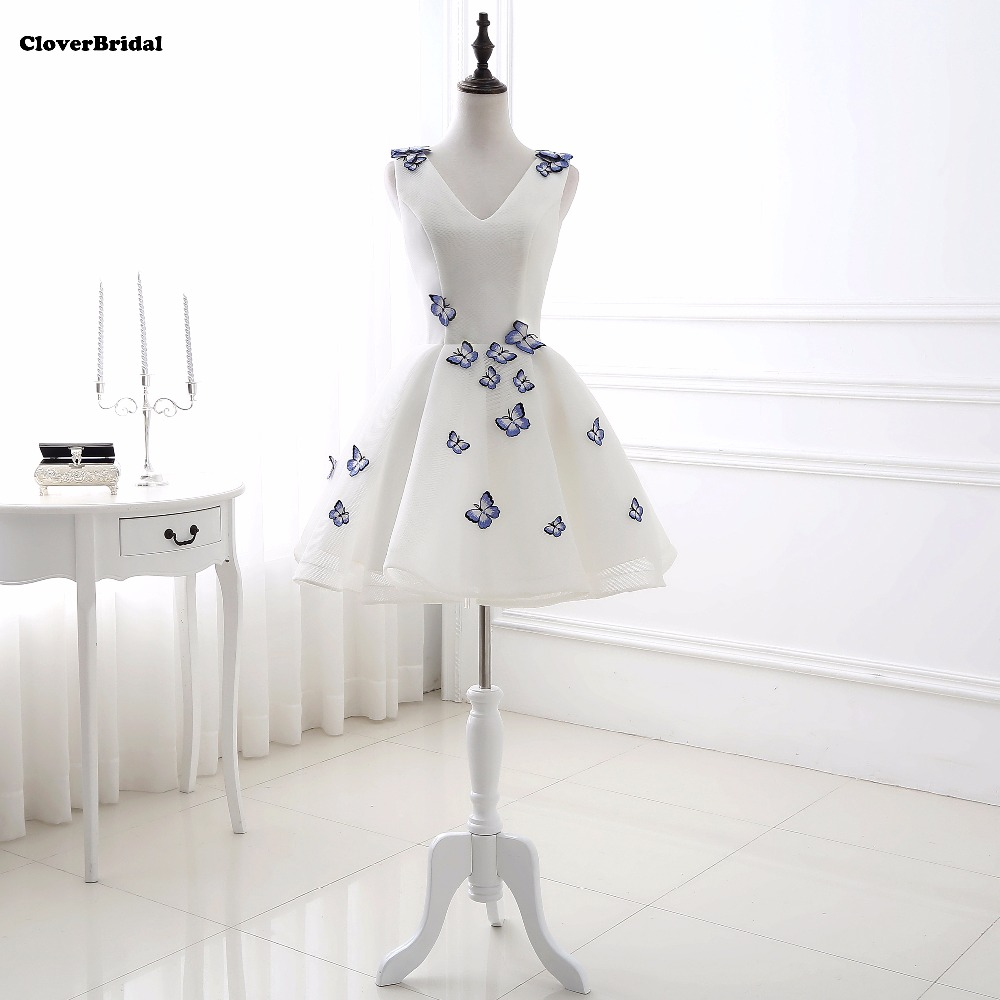 Classic Shinning White Tulle Strapless Cheap A-line Above Knee   Cocktail   Party   Dresses   2017 With Butterfly Flowers