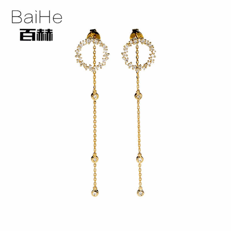 BAIHE Solid 14K Yellow Gold 0.38ct H/SI 100% Genuine Natural Diamond Engagement Women Trendy Fine Jewelry Elegant Stud Earrings