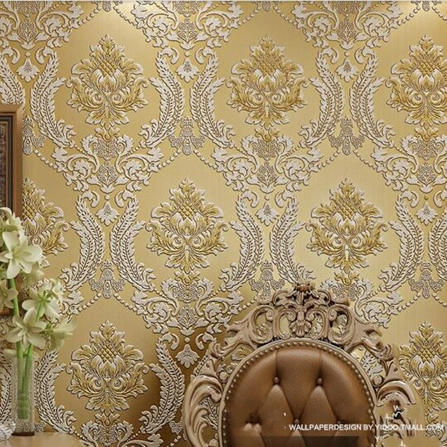 Beibehang Luxury Classic Wall Paper Home Decor Background Damask Wallpaper Golden Floral 3D Velvet