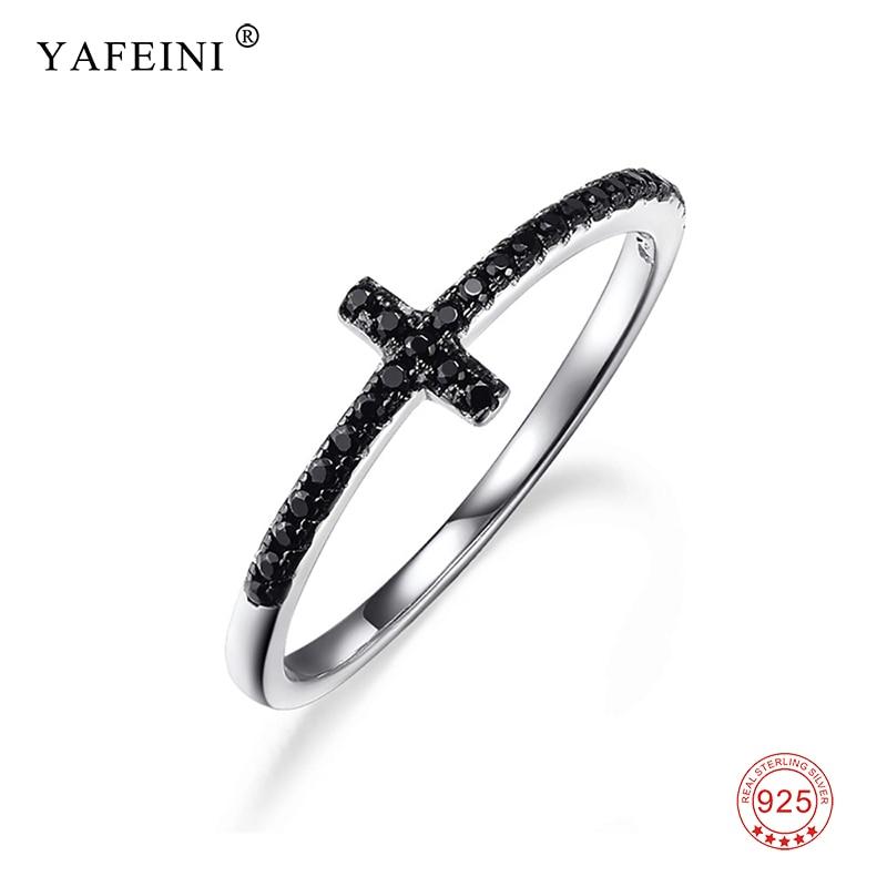 Pure 925 Sterling Silver Cross Band Ring Black Crystal Cross Pattern Finger Ring Fashion Design For Men Women