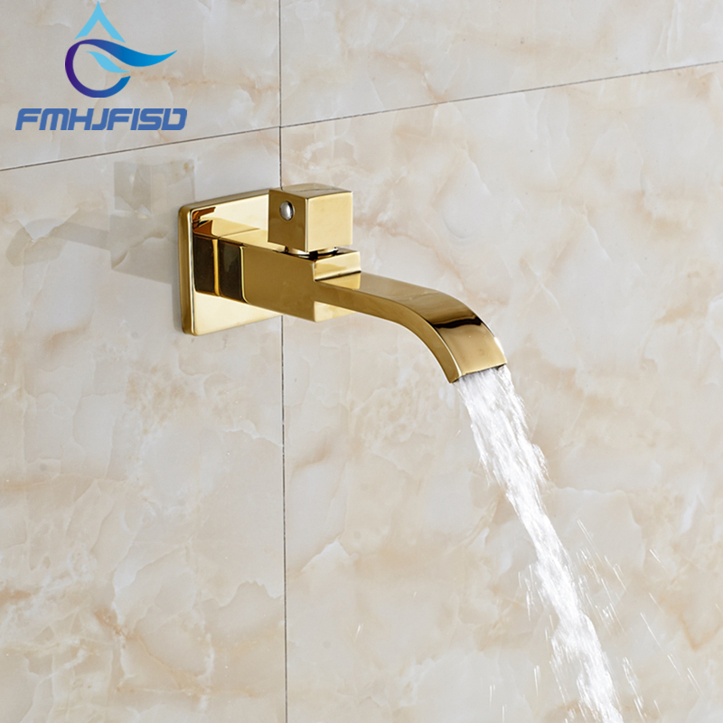 Free Shipping Waterfall Spout Golden Brass Wall Mounted Bathroom Tub Spout Pool Faucet Tap NEW