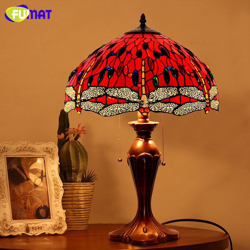 Living Room With Wooden End Table And Tiffany Lamp: FUMAT Glass Art Table Lamp Antique Decor Red Dragonfly