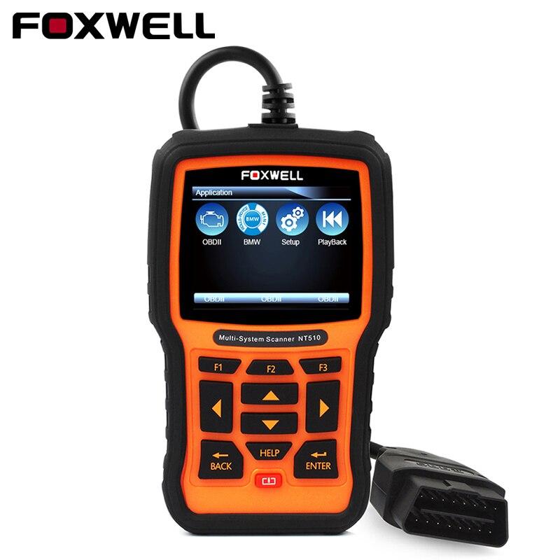 FOXWELL Plein Système OBD2 Outil De Diagnostic NT510 Pour BMW Benz OBD2 Scanner EPB SRS ABS Huile Service Réinitialiser ODB2 Automobile scanner