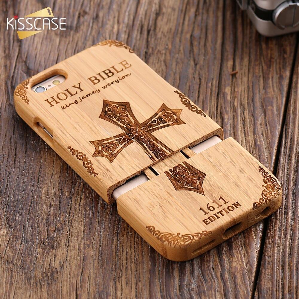 KISSCASE Rétro Naturel Bois Compact Cas Pour iPhone 6 6 s Plus 100% Bambou Gravé Loup Croix Capa Pour Samsung S6 S7 Bord coquilles