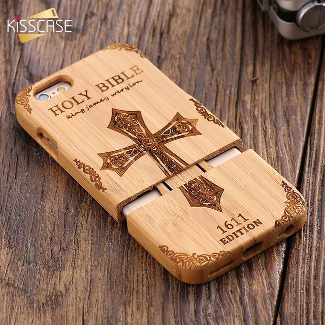 14671d47f4c Kisscase retro madera natural compacto para el iPhone 6 6 s más 100% bambú  grabado
