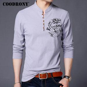 Image 3 - COODRONY Chinesischen Stil Stehkragen T Shirt Männer Langarm Baumwolle T Shirt Männer Kleidung 2018 Leinen T Hemd Homme T shirt t006
