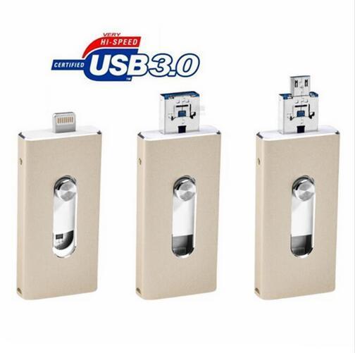 Para iphone 6, 6 s plus 5 5S 7 puls ipad metal pen drive memória hd vara dupla finalidade móvel otg micro usb 3.0 flash drive 16-64 gb