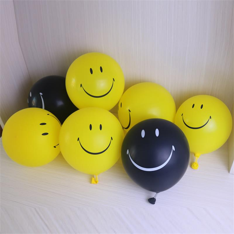 10pcs Smile Expression Balloons 10inch Latex Smiley Face Inflatable Balloon Wedding Party Decoration Yellow Black