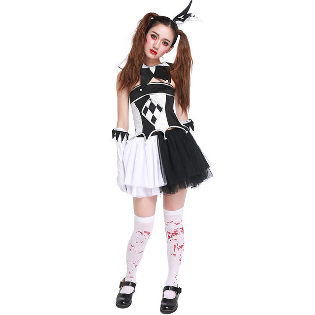 Free Shipping Black White Circus Clown Costume Funny Women Halloween Carnival Cosplay Fancy Masquerade Dress  sc 1 st  Aliexpress & Online Shop Free Shipping Black White Circus Clown Costume Funny ...