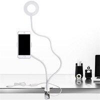 2 1 Lazy Telefon Tutucu iPhone Için Özçekim Halka Işık X 8 Artı Esnek Cep Telefonu Klip Tutucu Braketi Danışma Lambası LED Işık
