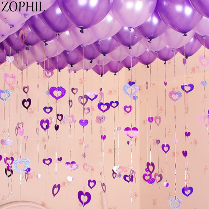 Decoración de Boda 100 Uds corazón brillante globo colgante de lazo Feliz Navidad Fiesta decoraciones para baby shower unicornio fiesta Boda